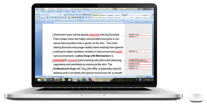 Screenshot of Proofreading Document